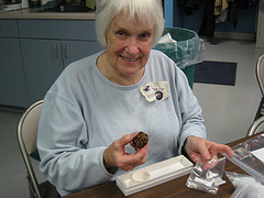 Greater Cincinnati EGA President, Marylyn D. admires her completed chocolate